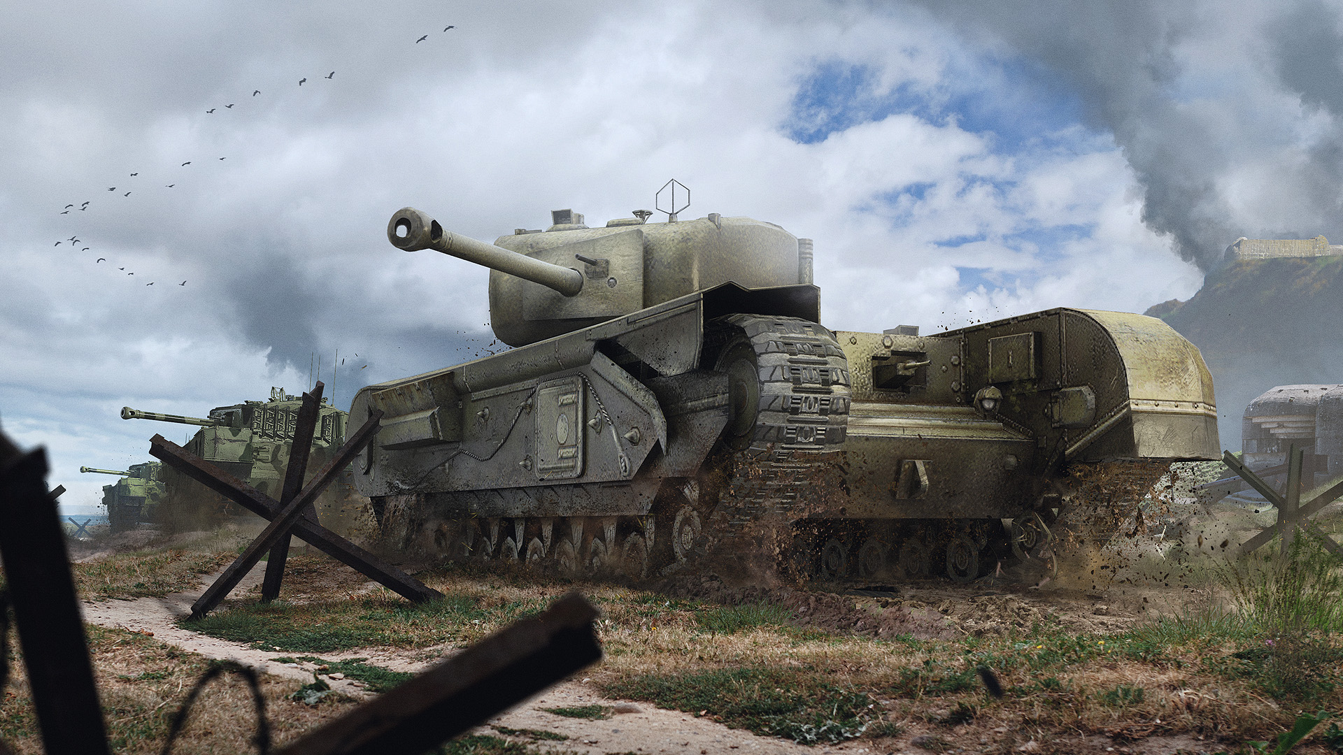 The Heavy Armored Quick Firing Churchill Mk VI Saunters Across Battlefield Turning All Enemy Vehicles In Its Way Into Scrap Metal